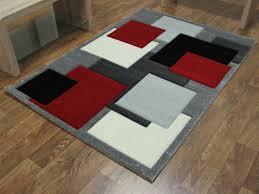 Squares Rug Square Rug Black Grey Red
