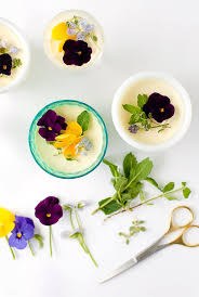 edible flower garnish flavored panna cotta with edible flowers