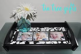 personalized photo serving tray tin tree self sufficiency