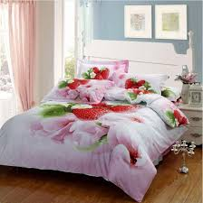 Girls Queen Size Bedding Sets by Girls Love Flower Strawberry Beauty Bedding Set Egyptian Cotton