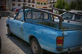 nissan blue truck free images parking summer park metal auto lamp decay old