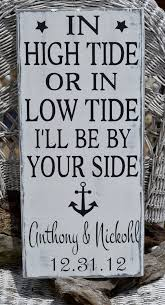 wedding quotes nautical wedding sign valentines gift in high tide or low tide