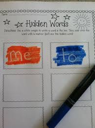 hidden words children write the word in white crayon then colour