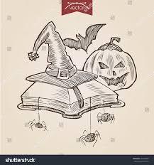 halloween website template halloween pumpkin bat book spiders wizard stock vector 220142593