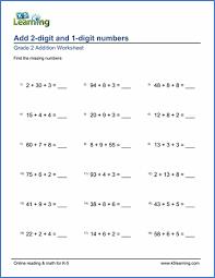 grade 2 mental addition worksheets free u0026 printable k5 learning