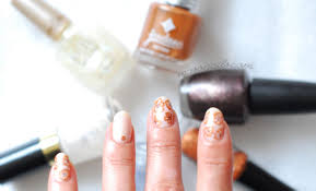 wedding nails copper flowers mani seasonails