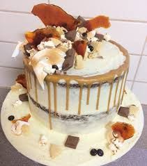 double stacked sticky date birthday cake with cream cheese