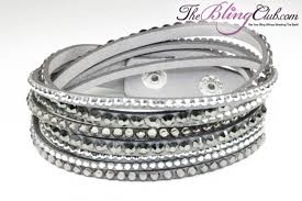 black leather crystal bracelet images Gorgeous grey vegan leather bling crystal wrap bracelet jpg