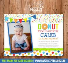 boy donut birthday photo invitation printable doughnut thank