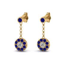 dangle diamond earrings sapphire halo drop dangle diamond earring in 18k yellow gold