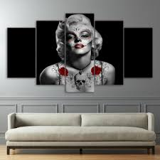 Marilyn Monroe Bedroom by 5 Pieces Hd Print Painting Marilyn Monroe Tattoo Red Rose Picture