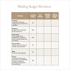 22 wedding budget templates u2013 free sample example format