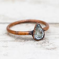 copper engagement ring aquamarine and copper ring bohemian festival jewellery