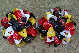 minnie mouse hair bow 2 hair bows mickey mouse hair bow minnie mouse hair bow loopy