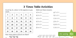 3 times table worksheet 3 times table worksheet activity sheet multiplication times