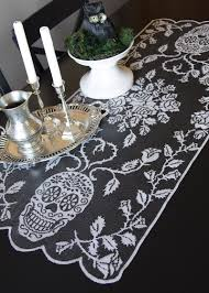 halloween lace tablecloth sugar skulls runner heritage lace