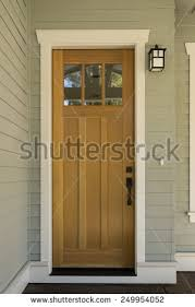 Hardwood Door Frames Exterior Wood Front Door Surrounding White Stock Photo 249954052