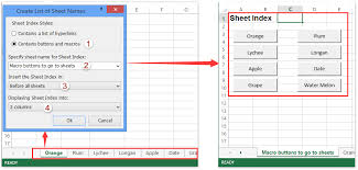 how to create buttons to open go to certain sheets in excel