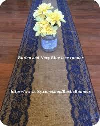 Navy Blue Table Runner Rustic Country Charm Wedding Burlap And Navy Blue Lace Table
