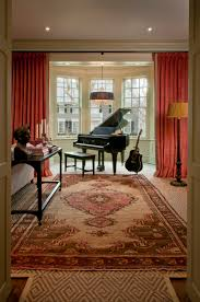 piano in bay window love the way the drapes flank the window as