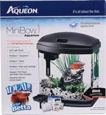 Aqueon Led Light Aqueon Led Mini Bow Aquarium Kit Black 1 Gallon Aqueon 17802