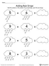 adding numbers with rain drops up to 13 printable maths