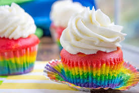 rainbow cupcakes with vanilla cloud frosting dinner then dessert