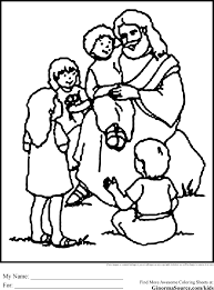 jesus with children coloring page printable kids coloring