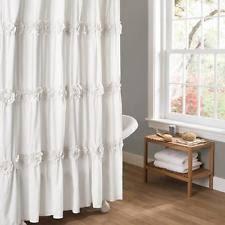 Luxury Shower Curtain White Cotton Shabby Chic Shower Curtains Ebay