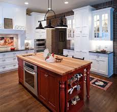 bright kitchen red decorative kitchen island with wood top single