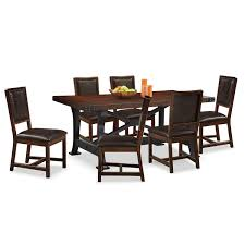 newcastle table and 6 chairs mahogany value city furniture