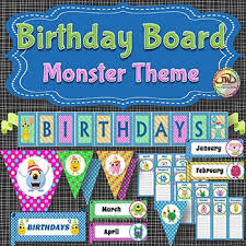 birthday board monsters themed birthday board bulletin board display classroom