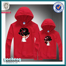 china wholesale hoodie with cartoon printing couple hoodie jacket