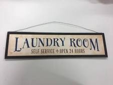 Laundry Room Hours - laundry room self service open 24 hours country wooden wall art