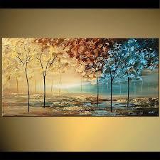 original abstract modern landscape made blue brown landscape abstract modern palette knife acrylic