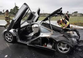 car crash 2 million mclaren f1 supercar suddenly flames on road