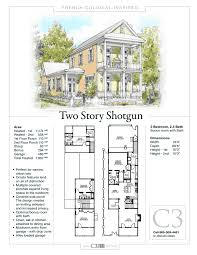 Side Garage Floor Plans by 2 Story Shotgun House By C3 Studio Llc French Colonial Inspired