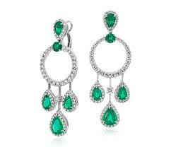 emerald drop pear shape emerald and diamond drop earrings in 18k white gold