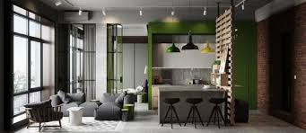 modern apartment ideas in industrial style mixing concrete wood
