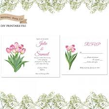 Invitation Card With Rsvp Pink Tulips Floral Printable Wedding Invitation And Rsvp Card Diy