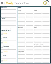 an organized grocery list and free printables shopping lists