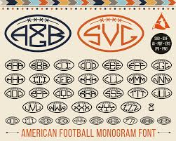 3 initial monogram fonts football monogram svg gridiron font svg cut files sport alphabet