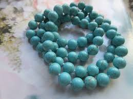 turquoise colored necklace images Vintage turquoise colored beaded necklace 585 gold clasp pauline jpg