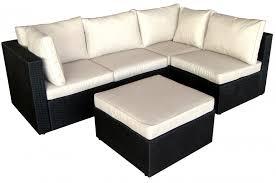 coussin canapé extérieur salon de jardin 5 places modulable coussin écru résine noir lamia