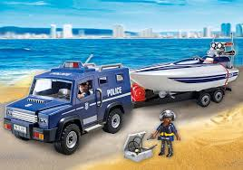 police truck police truck with speedboat 5187 playmobil latvia