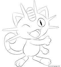 052 meowth pokemon coloring pages printable