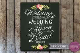 custom wedding welcome sign printable wedding chalkboard