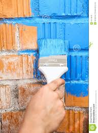 Light Blue Color by Orange Brick Wall Painted With Light Blue Color Stock Photo