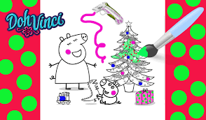 color your own peppa pig christmas holiday art craft plus santa