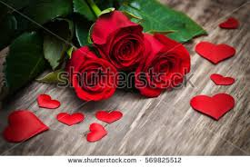 roses and hearts roses hearts on wooden stock photo 569825512